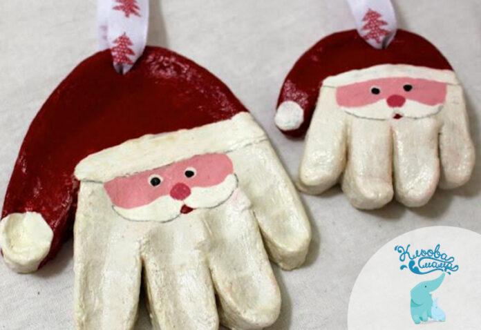 Идеи в копилку. Поделки на новый год своими руками - отпечаток руки в виде елочной игрушки Санты.