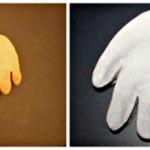 Идеи в копилку. Делаем вместе отпечаток руки в виде елочной игрушки Санты.