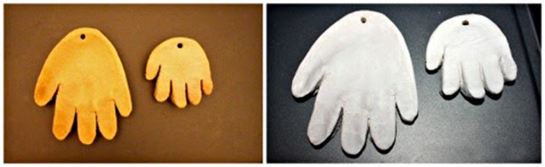 Ідеї в скарбничку. Робимо разом відбиток руки в вигляді ялинкової прикраси Санти